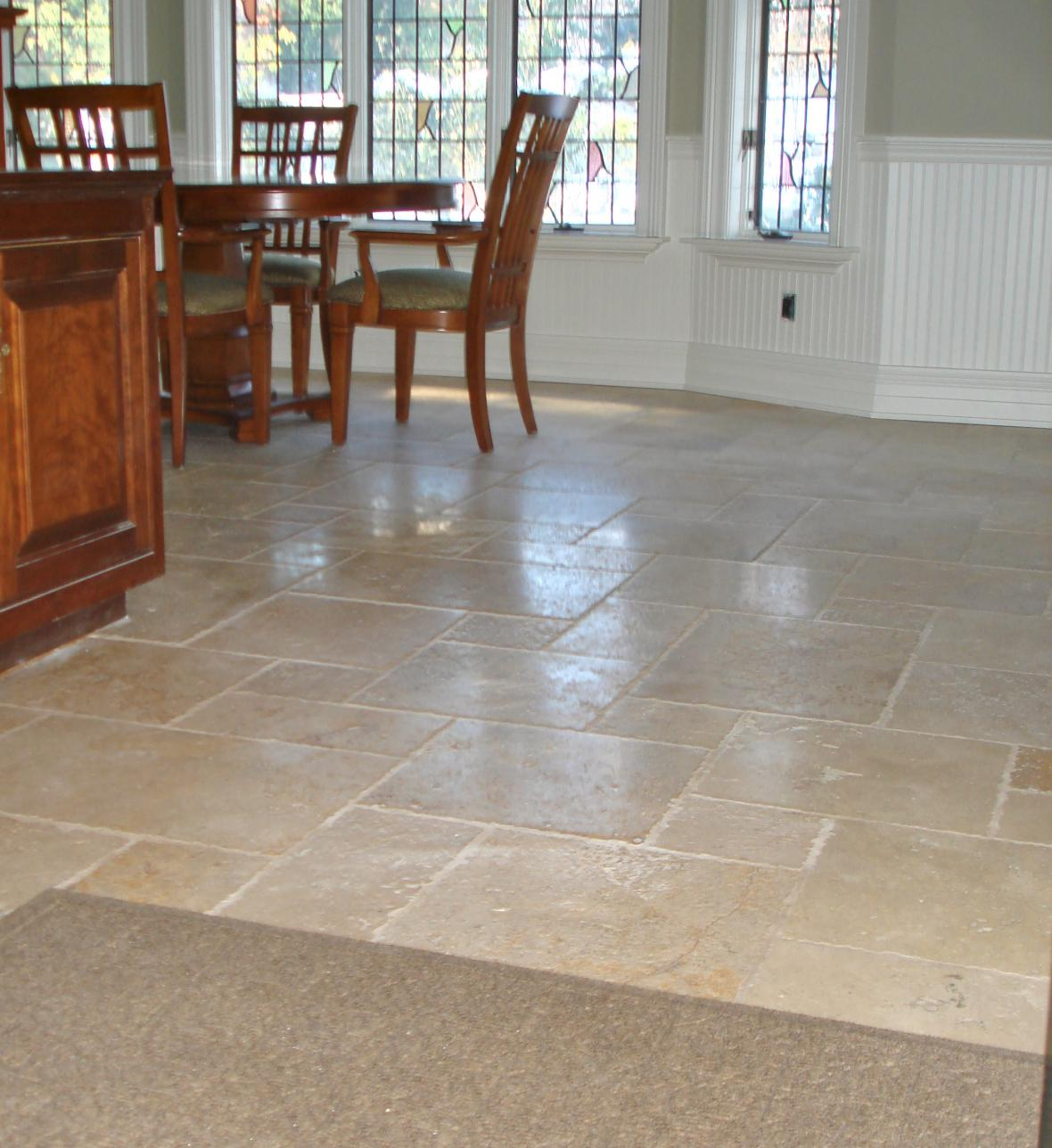 More About Tumbled Marble Kitchen Tile Floor