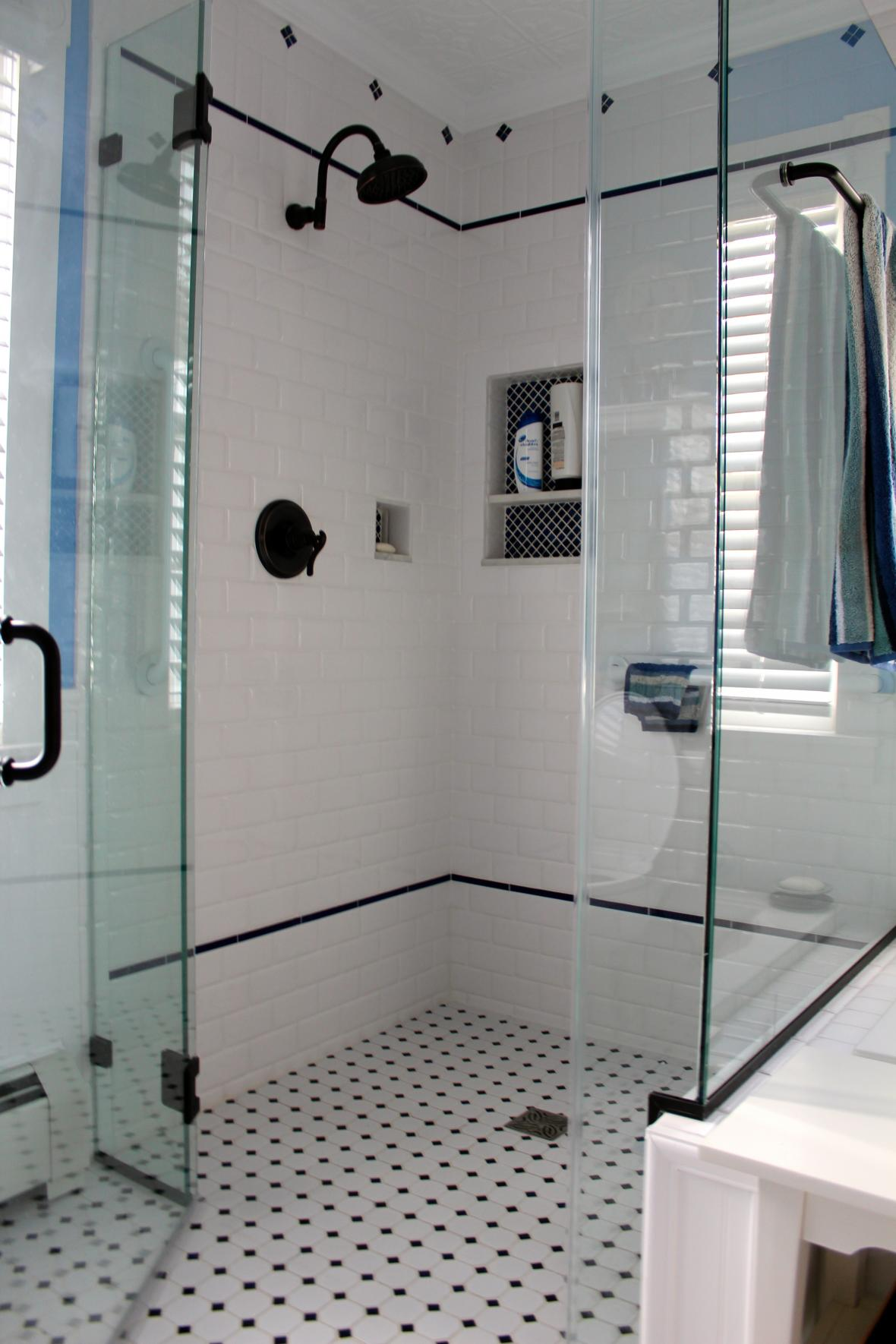Vintage subway tile shower. Bathroom Showers   New Jersey Custom Tile