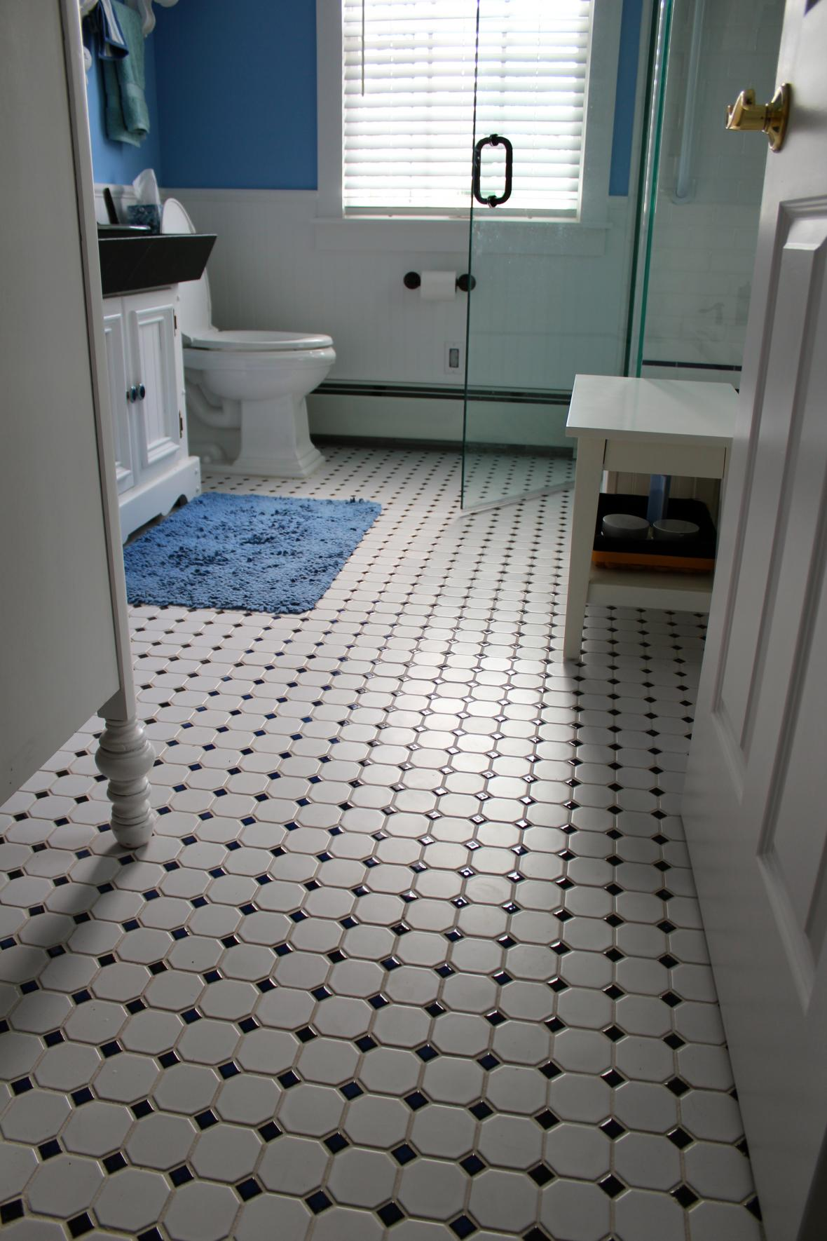Vintage tile bathroom floor new jersey custom tile for Bathroom floor tile ideas