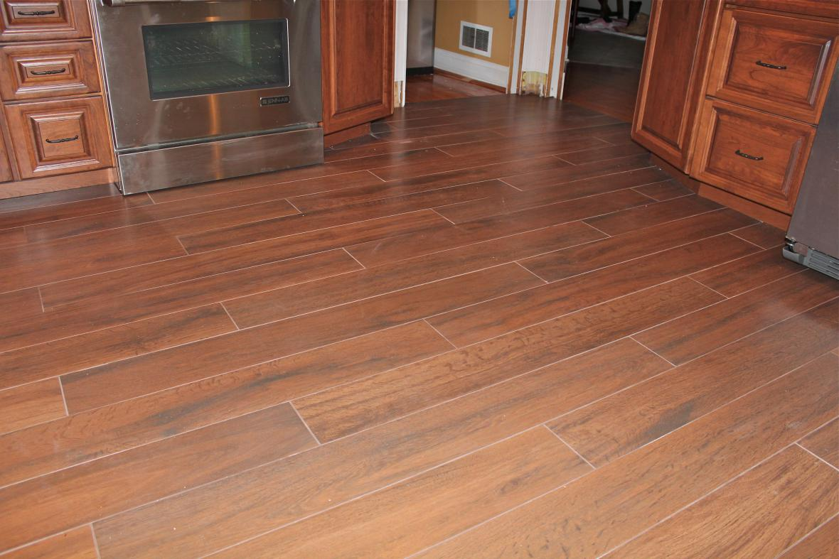 Wood tile floor kitchen new jersey custom tile for Tile and hardwood floor