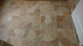 Broken tile pattern porcelain floor