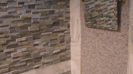 Carrera marble with stone and glass accents