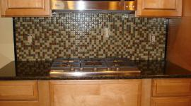 Glass mossaic kitchen backsplash front stove view