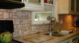 Mosaic stone pattern backsplash right view