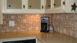 Mosaic stone pattern backsplash