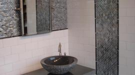 Oceanside glass with handmade porcelain tile