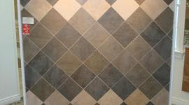 Porcelain and marble tile display on diagonal