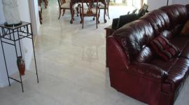 Porcelain tile floor in dining room on diagonal 12 x 36