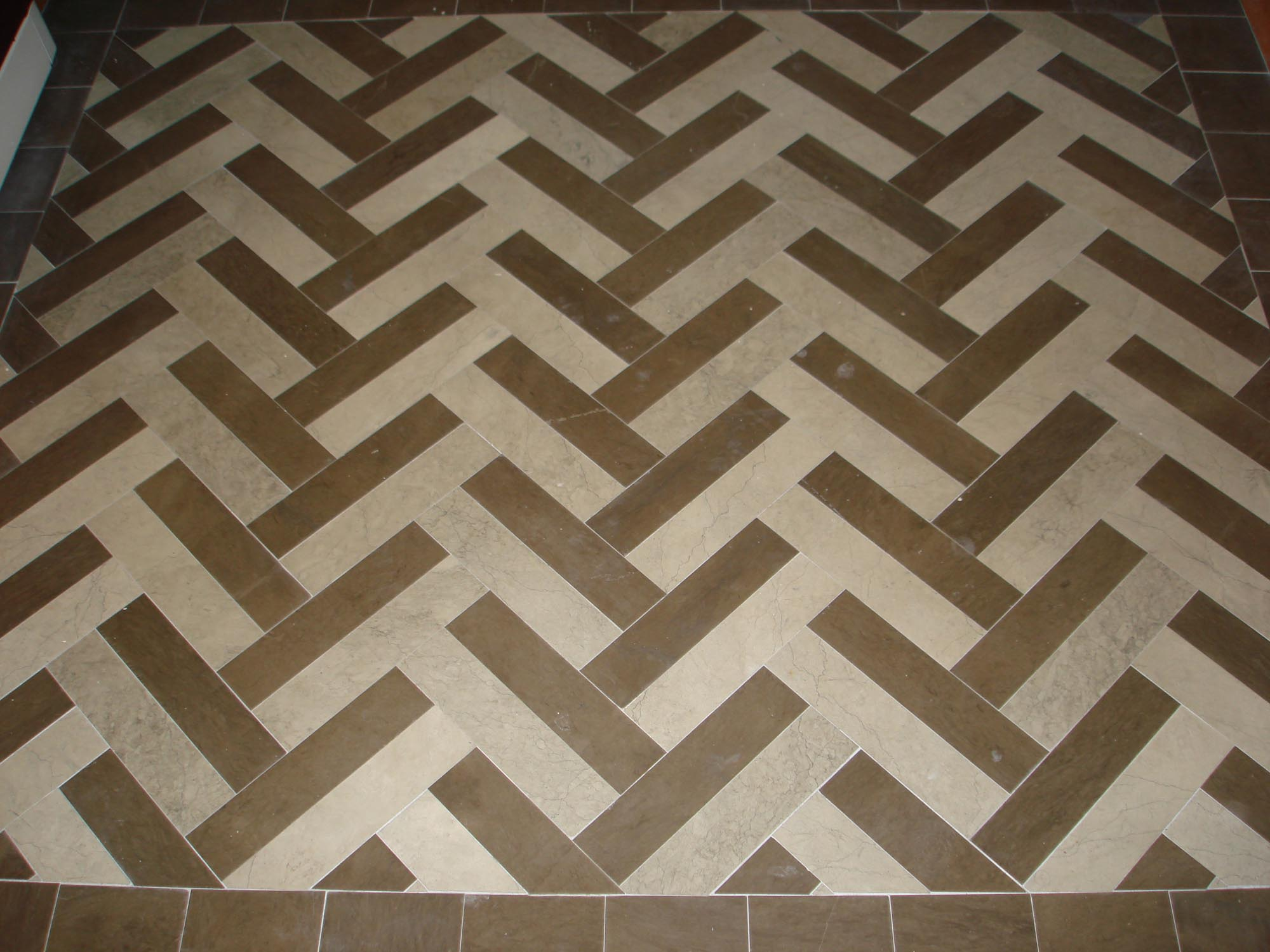 Marble 3x12 Tile Floor Display Herringbone Pattern With