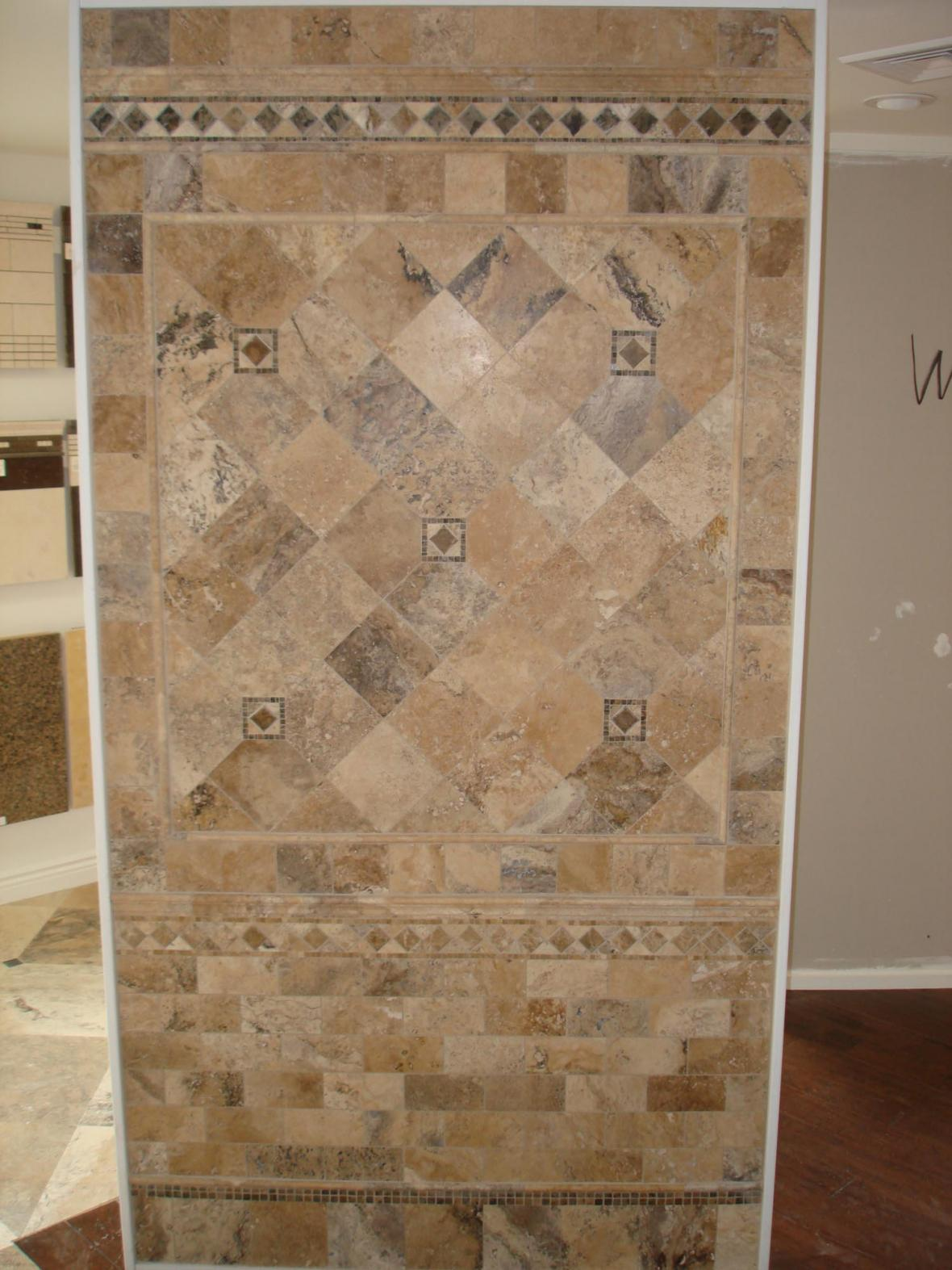 Porcelain and marble wall tile display