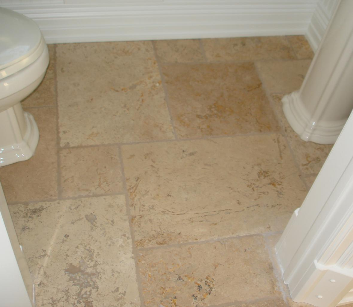 Powder Room Tumbled Marble Floor New Jersey Custom Tile