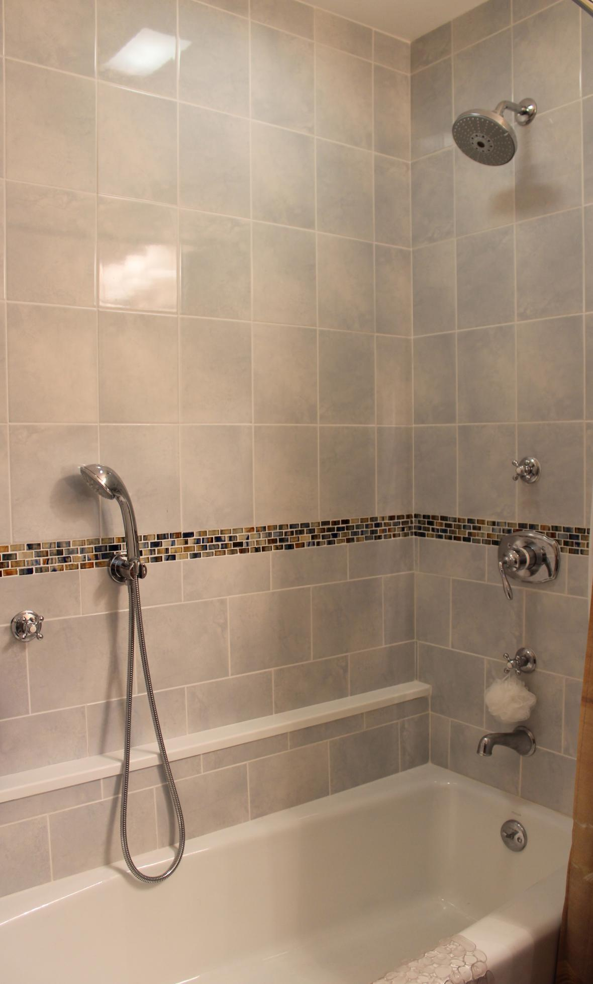 Tile shower with glass border new jersey custom tile for Glass tile border bathroom ideas