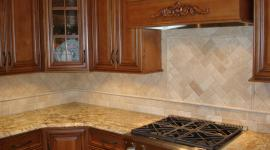 Backsplash with pillow top honed marble