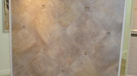 Porcelain with glass insert tile display